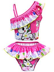 Недорогие -Дети Дети (1-4 лет) Девочки Активный Симпатичные Стиль Unicorn С принтом Бант Короткие рукава Купальник Розовый