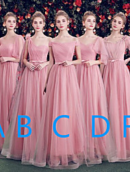 cheap -A-Line Off Shoulder / One Shoulder Floor Length Tulle Bridesmaid Dress with Bow(s) / Sash / Ribbon
