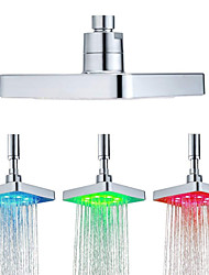 cheap -6 Inch Square 3 Colors Changing Water Temperature Sensor LED Shower Head Top Sprayer Bathroom Showerheads