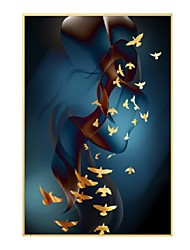 cheap -Framed Oil Painting - Animals Aluminum Alloy Oil Painting Wall Art