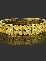 cheap -Men's Chain Bracelet Wide Bangle Classic Leaf Heart Precious Stylish Trendy Brass Bracelet Jewelry Gold For Daily Work / Gold Plated