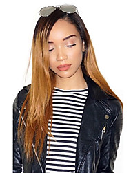 cheap -Remy Human Hair Lace Front Wig Layered Haircut style Brazilian Hair Straight Blonde Wig 130% Density with Baby Hair Ombre Hair Dark Roots Natural Hairline Women's Long Human Hair Lace Wig Aili Young