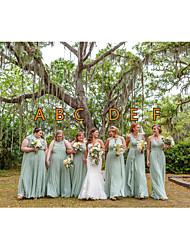 cheap -A-Line V Neck / Spaghetti Strap Floor Length Chiffon Bridesmaid Dress with Ruching / Ruffles / Pleats