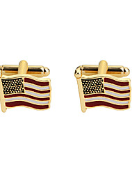 cheap -Cufflinks Flag American flag Classic European Brooch Jewelry Golden For Party Festival