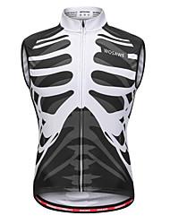 cheap -WOSAWE Men's Sleeveless Cycling Vest Black / White Bone Bike Vest / Gilet Jersey Sweat-wicking Sports Mesh Reactive Print Mountain Bike MTB Road Bike Cycling Clothing Apparel / Stretchy