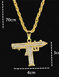 cheap -Men's Women's Gold Crystal Pendant Necklace Statement Necklace Chains Cuban Link Letter Statement Punk Trendy Rock Zircon Chrome 24K Gold Plated Gold 70 cm Necklace Jewelry 1pc For Carnival Street