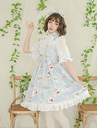 cheap -Artistic / Retro Patterned Cute Dress Cosplay Costume Halloween Props Party Costume All Velvet Chiffon Japanese Cosplay Costumes Light Blue Bowknot Lace Rabbit / Bunny Bishop Sleeve Half Sleeve Knee