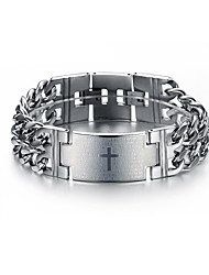 cheap -Men's Chain Bracelet Link Bracelet Two tone Cross Tire Stylish Punk Trendy Titanium Steel Bracelet Jewelry Silver For Party Gift Daily Carnival Club