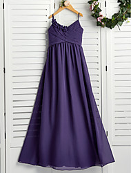 cheap -A-Line Spaghetti Strap Floor Length Chiffon Junior Bridesmaid Dress with Appliques / Ruching