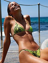 cheap -Women's Sporty Basic Green Blushing Pink Yellow Halter Thong Tankini Swimwear - Camo / Camouflage Backless S M L Green