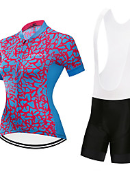 cheap -Women's Short Sleeve Cycling Jersey with Bib Shorts Red+Blue Blue / Black Geometic Bike Clothing Suit Quick Dry Sports Geometic Mountain Bike MTB Road Bike Cycling Clothing Apparel / Stretchy