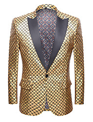 cheap -Purple / Yellow / Red Solid Colored Standard Fit Polyester Suit - Peak Single Breasted One-button