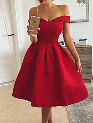 cheap -Women's Kentucky Derby Cocktail Party Going out Birthday Sexy A Line Dress - Solid Colored Formal Style Off Shoulder Off Shoulder Red S M L XL