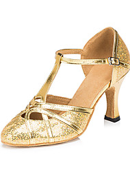 cheap -Women's Modern Shoes / Ballroom Shoes PU T-Strap Heel Glitter / Paillette Flared Heel Customizable Dance Shoes Black / Coffee / Gold / Performance / Practice