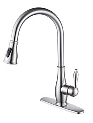 cheap -Kitchen faucet - Single Handle One Hole Nickel Brushed Pull-out / ­Pull-down / Tall / ­High Arc Deck Mounted Antique Kitchen Taps / Brass