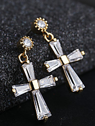 cheap -Women's Silver Hoop Earrings Hanging Cross Earrings Cross S925 Sterling Silver Earrings Jewelry Gold / Silver For Wedding Gift 1 Pair