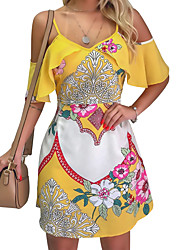 cheap -Women's Chiffon Dress - Sleeveless Floral Strap Elegant Street chic Belt Not Included Loose Yellow Fuchsia Light Blue S M L XL