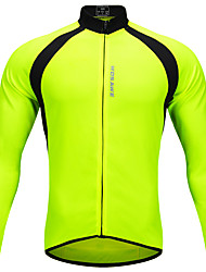 abordables -WOSAWE Homme Femme Manches Longues Maillot Velo Cyclisme Hiver Toison Polyester Vert Mosaïque Cyclisme Maillot Hauts / Top VTT Vélo tout terrain Vélo Route Des sports Vêtement Tenue / Elastique
