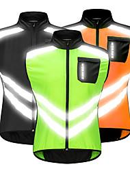 Недорогие -WOSAWE Муж. Без рукавов Жилет для велоспорта Черный Оранжевый Зеленый Сплошной цвет Велоспорт Жилетка Ветровки Джерси С защитой от ветра Со светоотражающими полосками Задний карман Виды спорта