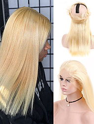 cheap -Human Hair 360 Frontal Lace Front Wig Free Part style Brazilian Hair Straight Blonde Wig 130% Density Women Best Quality New New Arrival Hot Sale Women's Medium Length Wig Accessories Human Hair Lace