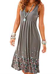cheap -Women's 2020 Plus Size Casual Beach Mini Shift Dress - Geometric Print U Neck Summer Black Brown Gray S M L XL