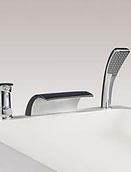 cheap -Bathtub Faucet - Contemporary Chrome Widespread Ceramic Valve Bath Shower Mixer Taps