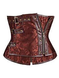 cheap -Men's / Women's Zipper Underbust Corset - Solid Colored / Fashion, Lace / Sporty / Stylish Brown M L XL