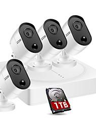 Недорогие -Zosi 4ch 5-мегапиксельная HD камера видеонаблюдения системы безопасности 4шт HD-видеокамера системы видеонаблюдения 1 ТБ Seagate Skyhawk HDD 4 в 1 видеорегистратор атмосферостойкого ночного