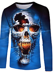 cheap -Men's Plus Size Graphic T-shirt Basic Daily Wear Round Neck Blue / Long Sleeve