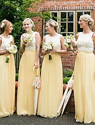 cheap -A-Line Jewel Neck Floor Length Chiffon Bridesmaid Dress with Lace