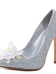 cheap -Women's Heels Party Heels Stiletto Heel Pointed Toe Rhinestone Suede Sweet Spring &  Fall Black / Silver / Wedding / Party & Evening