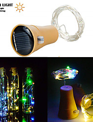 cheap -1pcs 2M 20LED Solar Powered Wine Bottle Cork Shaped LED Copper Wire String Outdoor Light Garland Lights Festival Outdoor Fairy Light