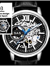 cheap -Men's Mechanical Watch Quartz Leather Black / Brown 30 m Noctilucent Casual Watch Analog Luxury Fashion - Golden black / gold Black / Silver