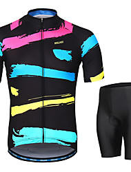 cheap -Arsuxeo Men's Short Sleeves Cycling Jersey with Shorts Black / Red Stripes Bike Clothing Suit 3D Pad Moisture Wicking Sports Stripes Mountain Bike MTB Road Bike Cycling Clothing Apparel