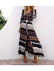 cheap -Women's Boho Plus Size Holiday Beach Boho Maxi Tunic Sundress - Tribal Split Print V Neck Summer Cotton Blue Black XL XXL XXXL