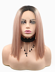 cheap -Synthetic Lace Front Wig Matte Natural Straight Bob Lace Front Wig Pink Long Black / Pink Synthetic Hair 12 inch Women's Classic Women Adorable Black Pink Sylvia