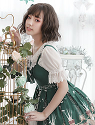 cheap -Artistic / Retro Princess Lolita Cute Dress Cosplay Costume Party Costume Masquerade All Velvet Chiffon Japanese Cosplay Costumes Green Print Animal Bowknot Sleeveless Sleeveless Knee Length Medium