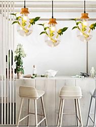 cheap -3-Light 45 cm Pendant Light Wood / Bamboo Glass Geometrical Painted Finishes Modern 110-120V 220-240V