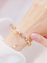 cheap -Women's Bracelet Bangles Wrap Bracelet Earrings / Bracelet Layered Alphabet Shape Heart Simple Classic Fashion Cute Elegant Copper Bracelet Jewelry Silver / Rose Gold For Daily School Street Holiday