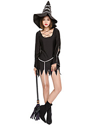 cheap -Witch Dress Cosplay Costume Masquerade Adults' Women's Dresses Halloween Christmas Halloween Carnival Festival / Holiday Polyster Black Carnival Costumes Solid Color Holiday Halloween