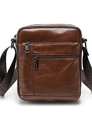 cheap -Men's Bags Nappa Leather Cowhide Shoulder Messenger Bag Crossbody Bag Zipper Solid Color Daily Office & Career Dark Brown Black Chocolate