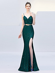 cheap -Mermaid / Trumpet Spaghetti Strap Sweep / Brush Train Sequined Elegant & Luxurious / Furcal Formal Evening Dress with Sequin / Sash / Ribbon / Split Front 2020