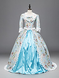 cheap -Princess Maria Antonietta Floral Style Rococo Victorian Renaissance Vacation Dress Dress Party Costume Masquerade Women's Lace Costume Blue Vintage Cosplay Christmas Halloween Party / Evening Long