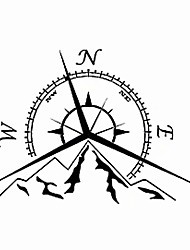 cheap -Fashion Mountains Compass Decal Nautical Compass Navigate Reflective Car Sticker