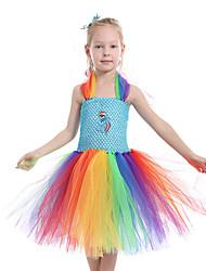 cheap -Kids Toddler Girls' Active Cute Black & Gray Horse Rainbow Patchwork Backless Mesh Patchwork Sleeveless Knee-length Dress Rainbow