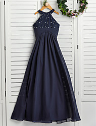 cheap -A-Line Jewel Neck Maxi Chiffon Junior Bridesmaid Dress with Pearls / Wedding Party