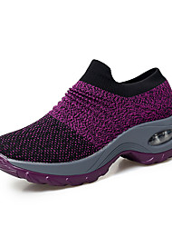 cheap -Women's Knit Spring & Summer / Fall & Winter Sporty Athletic Shoes Swing Shoes Wedge Heel Round Toe Black / Gray / Purple / Striped