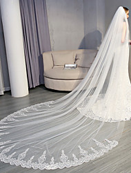 cheap -One-tier Lace Applique Edge / Elegant & Luxurious Wedding Veil Cathedral Veils with Sequin / Appliques 137.8 in (350cm) Lace / Tulle / Oval