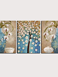 cheap -Print Rolled Canvas Prints - Abstract Floral / Botanical Classic Modern Three Panels Art Prints