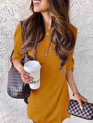 cheap -Women's Basic T Shirt Dress - Solid Color Chiffon Fashion Off Shoulder Spring Purple Yellow Khaki L XL XXL